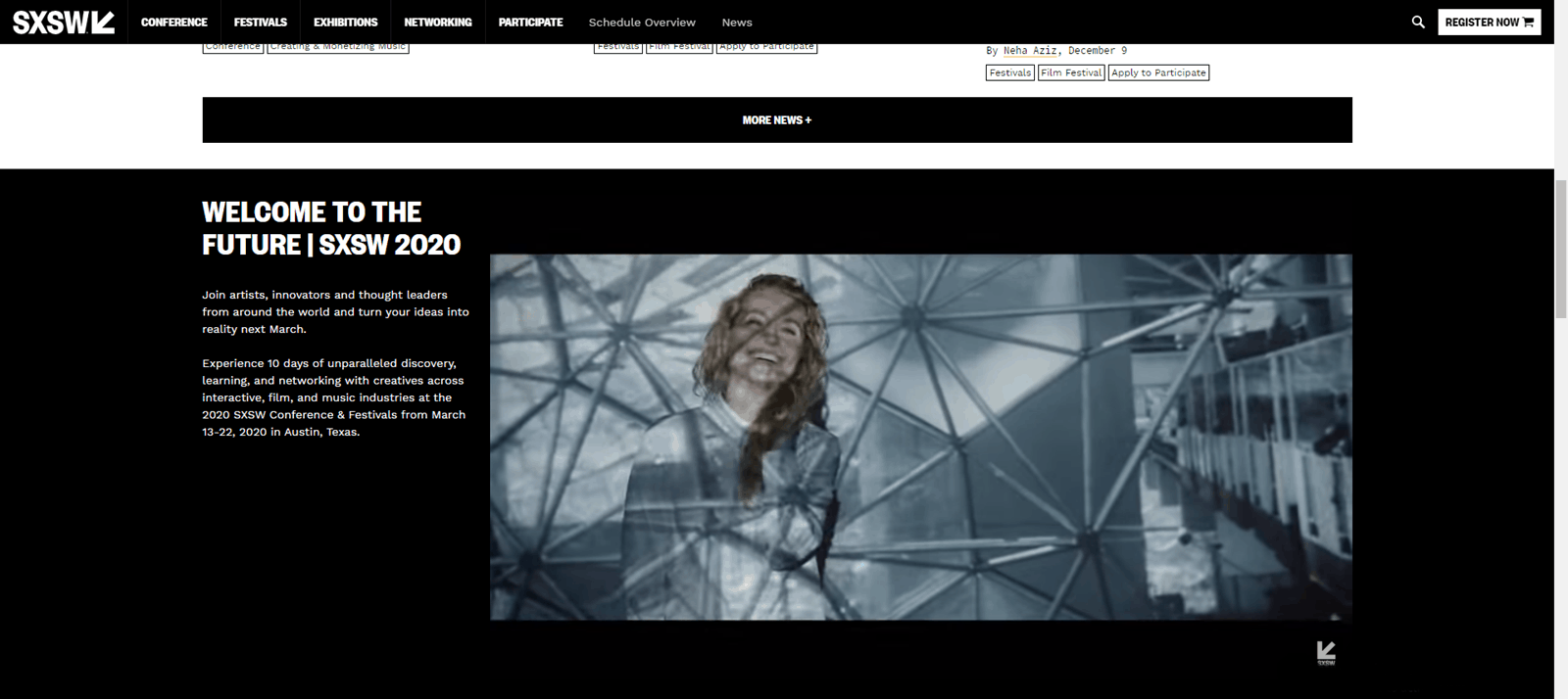sxsw video landing page