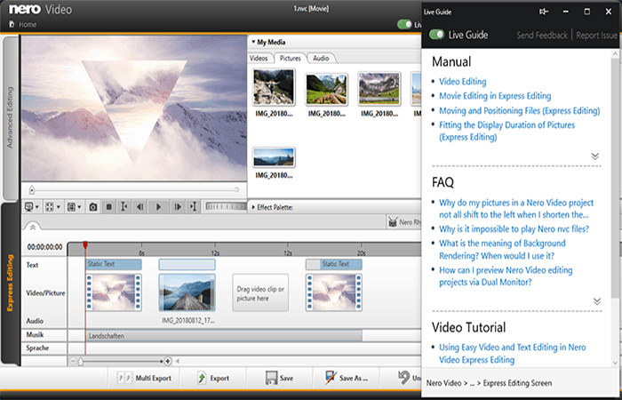 Nero Video - video editing software for beginners