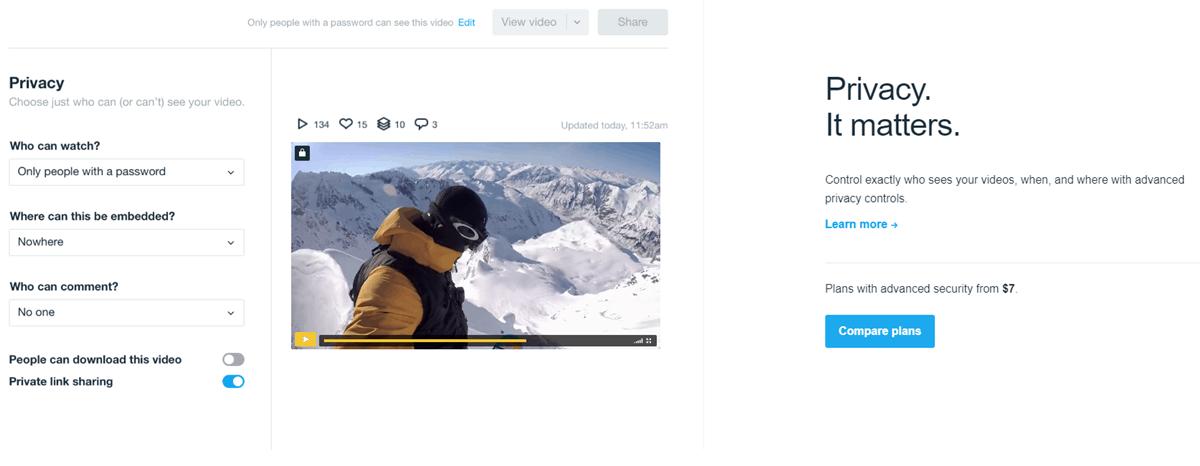 vimeo plus privacy