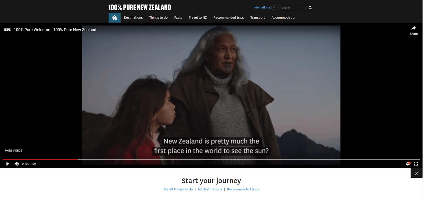 video on website - visit New Zealand