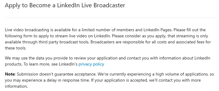 LinkedIn Live Application