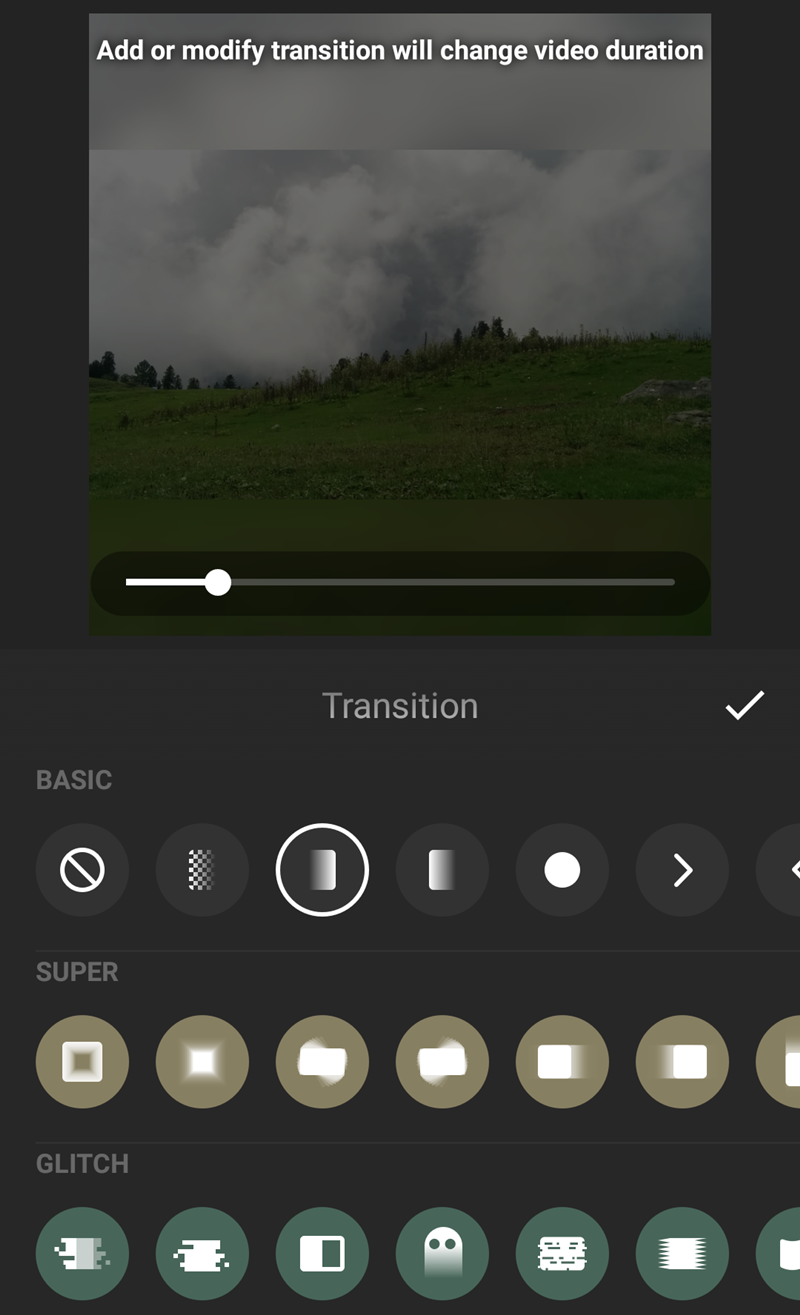How to add transitions in inshot