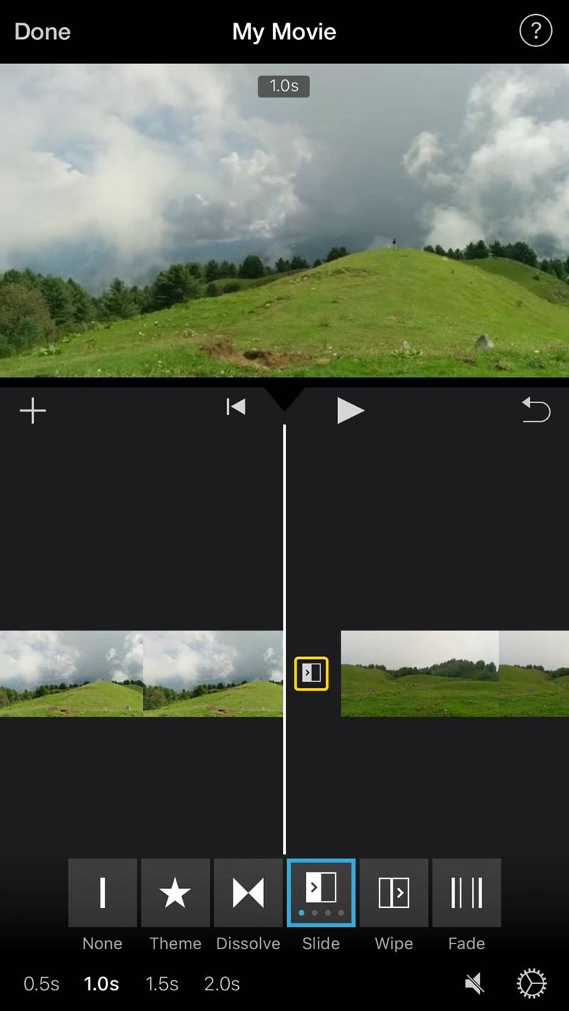 add transitions in imovie